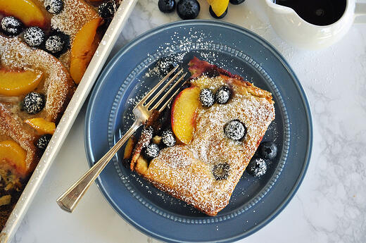 Blueberry Peach Baked French Toast