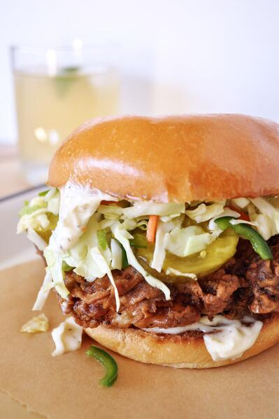1 Fried Chicken Sandwiches with Pickle-Jalapeno Slaw