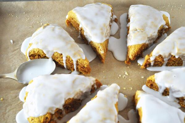 4 Glazed Pumpkin Scones