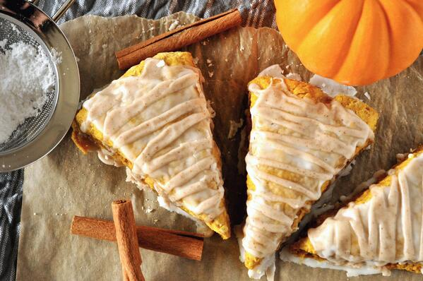 5 Glazed Pumpkin Scones