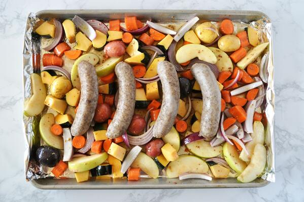 5 Sheetpan Brats and Roasted Vegetables
