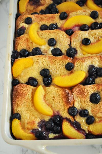 6 Blueberry Peach Baked French Toast