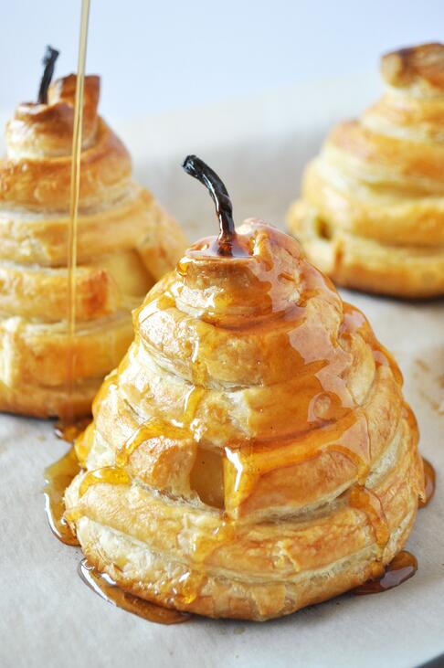 6 Honey Poached Pears in Puff Pastry