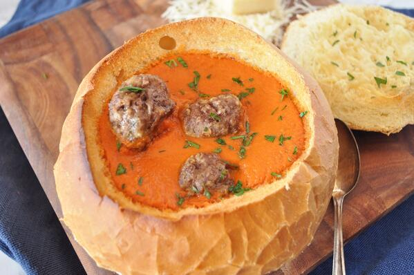 6 Tomato Meatball Soup in Bread Bowls