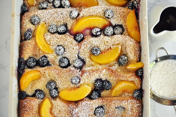 7 Blueberry Peach Baked French Toast