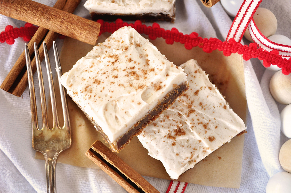 Gingerbread Bars with Cinnamon-Vanilla Frosting