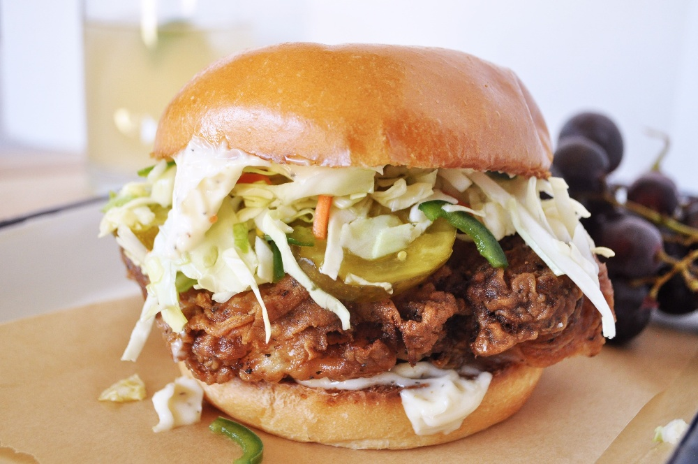 Fried Chicken Sandwiches with Pickle-Jalapeno Slaw